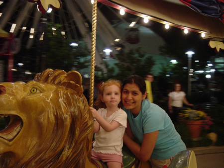 Jeannie and Lindee on the merry-go-round at the Navy Pier